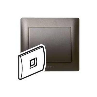 Лицевая панель Legrand Galea Life для телефонной розетки RJ11 и RJ ISDN, Темная бронза