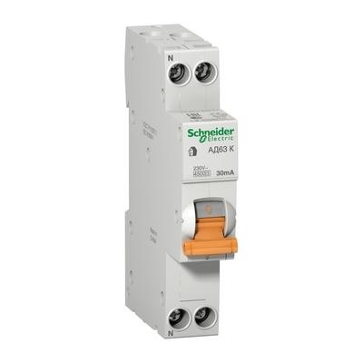 Дифференциальный автомат Schneider Electric АД63 К 1П+Н, 6 Ампер 30мA, 4,5кА, АС, 18 мм, 1-модуль