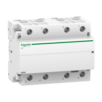 Контактор модульный Schneider Electric Acti 9 iCT, 100 Ампер, 4НО 220/240В АС 50ГЦ