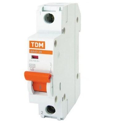 Автоматический выключатель TDM ВА47-29, однополюсный, 16 Ампер, 4,5кА характеристика С