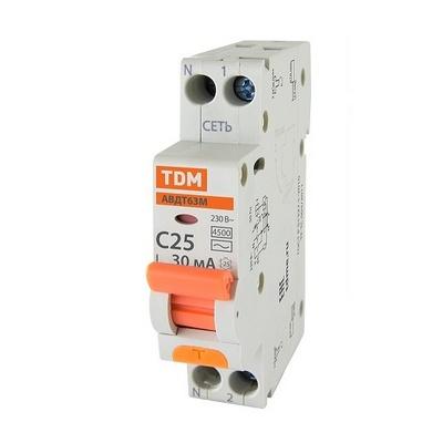 Дифференциальный автомат TDM АВДТ 63М, C25 30мА 4,5кА
