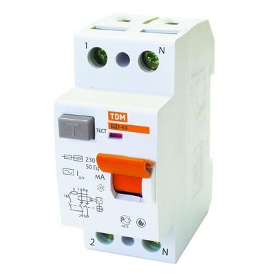 Выключатель дифференциального тока УЗО TDM ВД1-63, двухполюсное, 25А, 30мА