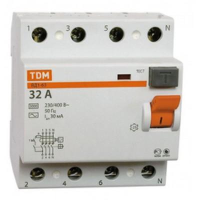 Выключатель дифференциального тока УЗО TDM ВД1-63, четырёхполюсное, 25А, 30мА