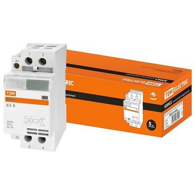 Контактор модульный TDM КМ63, 2 контакта, 63 ампера, 1НО;1НЗ, катушка управления 230В