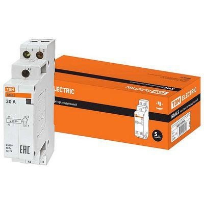 Контактор модульный TDM КМ63, 2 контакта, 20 ампер, 2НО, катушка управления 230В