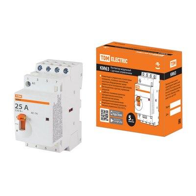 Контактор модульный TDM с ручным управлением КМ63, 4 контакта, 25 ампер, 4НО, катушка управления 230В АС