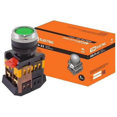 Кнопка управления TDM ABLFS-22 зеленый d22мм неон, 230В, 1нз+1но
