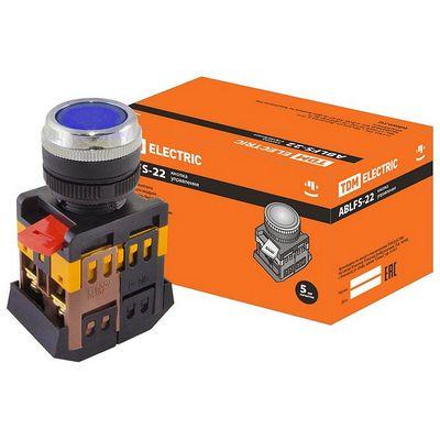Кнопка управления TDM ABLFS-22 синий d22мм неон, 230В, 1нз+1но