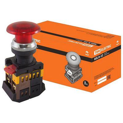 Кнопка управления TDM AELA-22 Грибок красный d22мм неон, 230В, 1нз+1но
