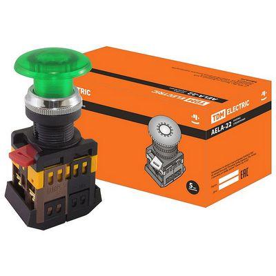 Кнопка управления TDM AELA-22 Грибок зеленый d22мм неон, 230В, 1нз+1но