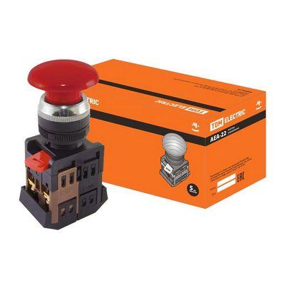 Кнопка управления TDM AEА-22 Грибок красный d22мм, 1нз+1но