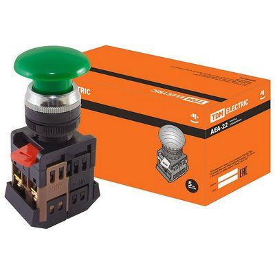 Кнопка управления TDM AEА-22 Грибок зеленый d22мм, 1нз+1но