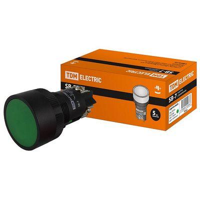 Кнопка управления TDM SВ-7 Пуск зеленая, 1нз d22мм, 230В,
