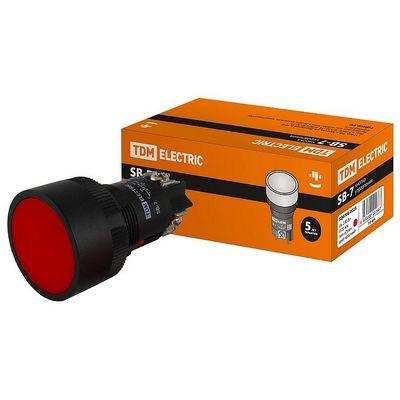 Кнопка управления TDM SВ-7 Стоп красная, 1но d22мм, 230В,