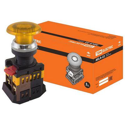 Кнопка управления TDM AELA-22 Грибок желтый d22мм неон, 230В, 1нз+1но