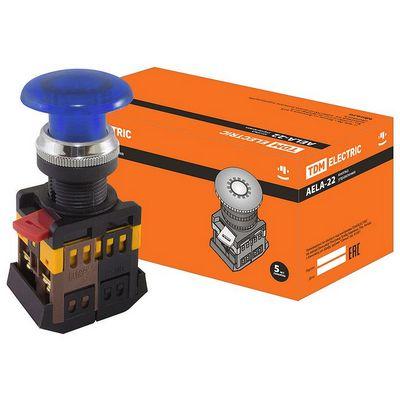 Кнопка управления TDM AELA-22 Грибок синий d22мм неон, 230В, 1нз+1но
