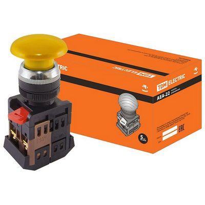 Кнопка управления TDM AEА-22 Грибок желтый d22мм, 1нз+1но