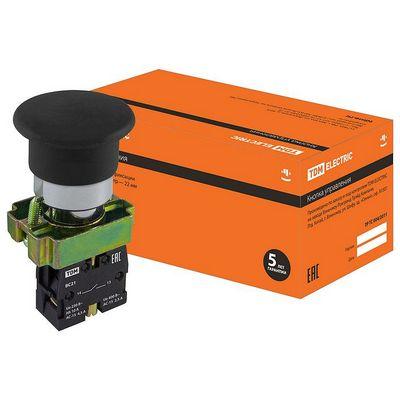 Кнопка управления TDM BС21 Грибок без подсветки черный, 1нз