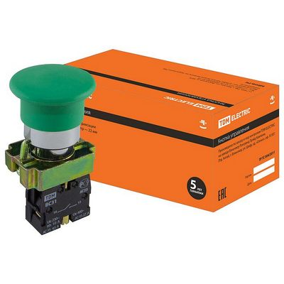 Кнопка управления TDM BС31 Грибок без подсветки зеленый, 1нз