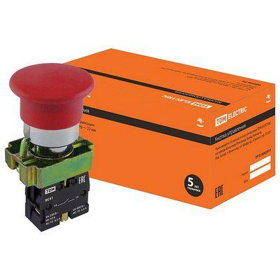 Кнопка управления TDM BС41 Грибок без подсветки красный, 1нз