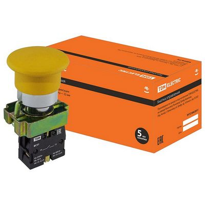 Кнопка управления TDM BС51 Грибок без подсветки желтый, 1нз