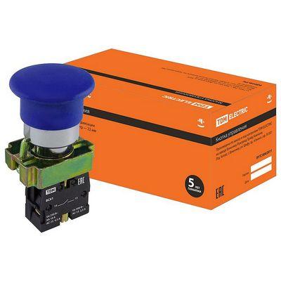 Кнопка управления TDM BС61 Грибок без подсветки синий, 1нз