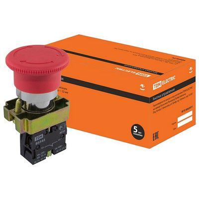 Кнопка управления TDM BS542 Грибок аварийная с фиксацией поворотная красный