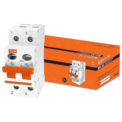 Выключатель нагрузки (модульный рубильник) TDM ВН-32, 2 полюсный, 40 Ампер