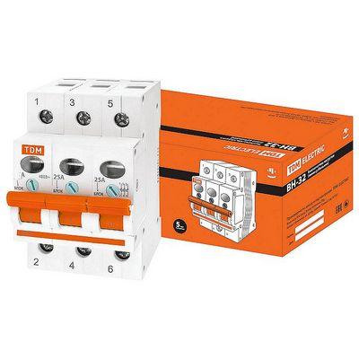 Выключатель нагрузки (модульный рубильник) TDM ВН-32, 3 полюсный, 40 Ампер