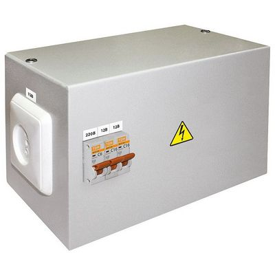 Ящик с трансформатором понижающим TDM ЯТП-0,25 220/12, 3 автомата, IP31