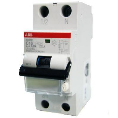 Дифференциальный автомат ABB DS201 C16 AC30 (16А 0,03A тип AC) 2 модуля выключатель диф тока автоматический