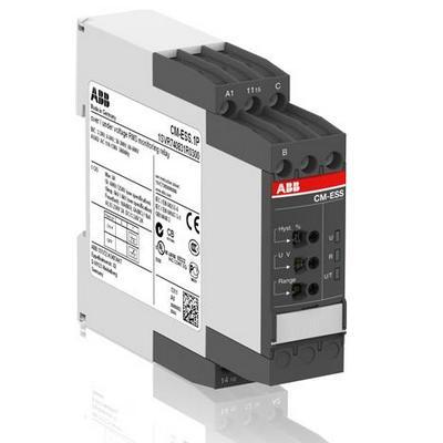Однофазное реле контроля напряжения ABB CM-ESS.2S (диапазоны измерения 3- 30В, 6-60В, 30-300В, 60-600 AC/DC) питание 240В AC, 2ПК