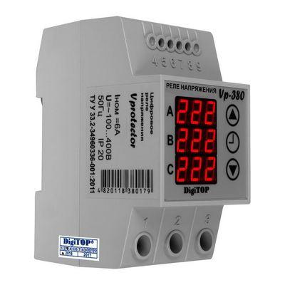 Реле контроля напряжения DigiTOP VP-380 6A, трёхфазное