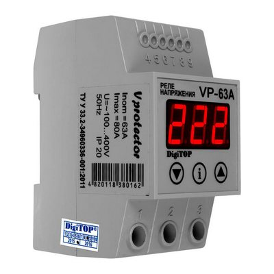 Реле контроля напряжения DigiTOP Vp-63A , однофазное