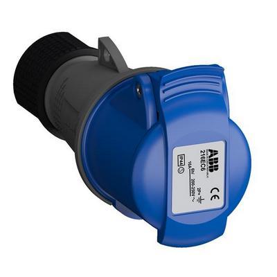 Розетка силовая ABB Easy&Safe 216EC6, 16А, 2P+E, IP44, кабельная, переносная