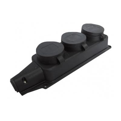 Колодка каучуковая UNIVersal, тройная, однофазная с заглушками с/з, 16А, 250В, IP44