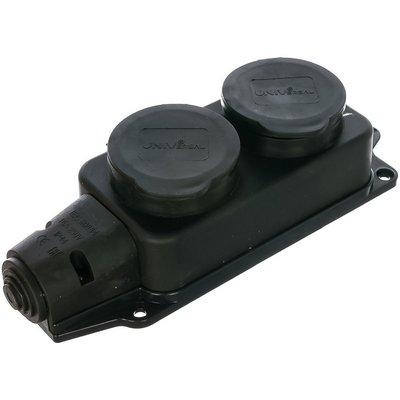 Колодка каучуковая UNIVersal, 2-х местная, однофазная с заглушками с/з,  16А, 250В, IP44