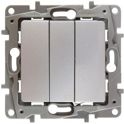 Выключатель Legrand Etika трехклавишный 10A алюминий