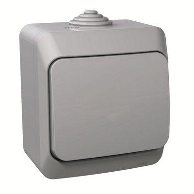 Выключатель одноклавишный Schneider Electric Этюд IP44 накладной (серый)