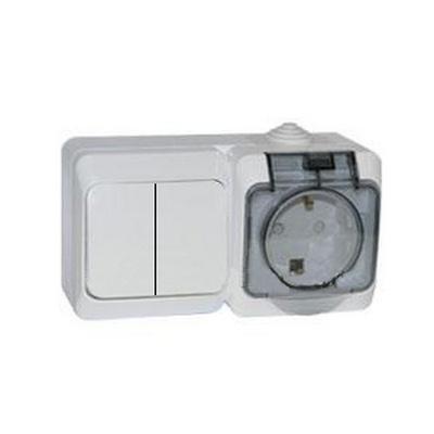 Выключатель 2х-клавишный+Розетка блок Schneider Electric Этюд IP44 накладной с заземлением со шторками с крышкой (белый)