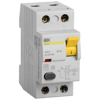 Выключатель дифференциального тока УЗО ВД1-63 2Р 16А 30мА ИЭК (IEK)