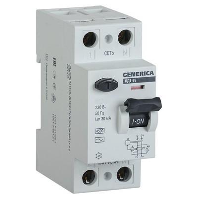 Выключатель дифференциального тока УЗО ИЭК ВД1-63 2Р 25А 30мА GENERICA