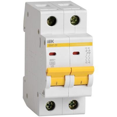 Автоматический выключатель ВА 47-29 2Р 1А 4,5кА характеристика С ИЭК IEK