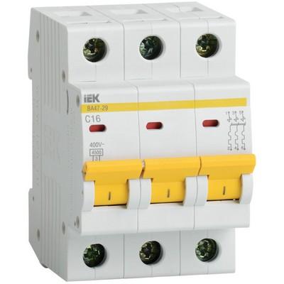 Автоматический выключатель ВА 47-29 3Р 20А 4,5кА характеристика С ИЭК IEK