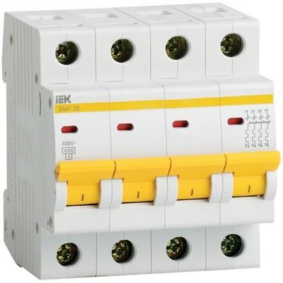 Автоматический выключатель ВА 47-29 4Р 1А 4,5кА характеристика С ИЭК IEK