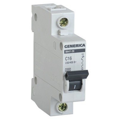 Автоматический выключатель ИЭК ВА47-29 1-полюсный, 16А, 4,5кА, характеристика С, GENERICA