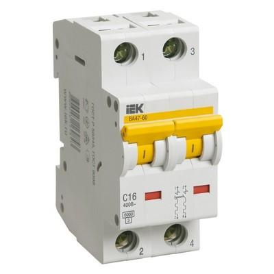 Автоматический выключатель ВА 47-60 2-полюсный 6А 6 кА характеристика С ИЭК IEK