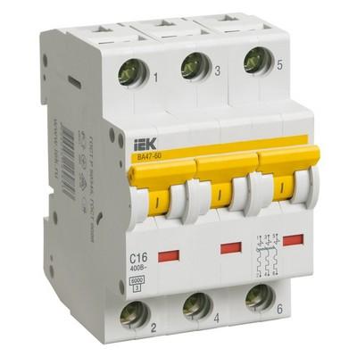 Автоматический выключатель ВА 47-60 3-полюсный 6А 6 кА характеристика С ИЭК IEK