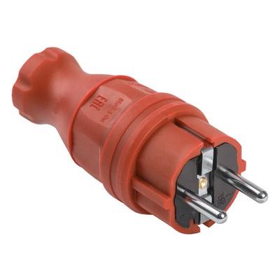 Вилка кабельная ИЭК Омега, каучуковая, прямая IP44, красная