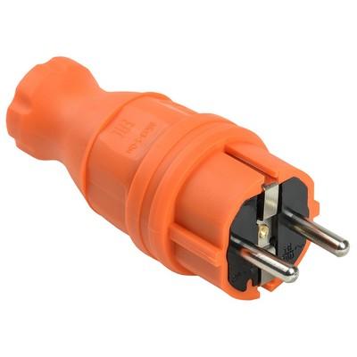 Вилка кабельная ИЭК Омега, каучуковая, прямая IP44, оранжевая